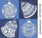 set of openwork christmas... | Shutterstock .eps vector #497393743