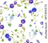 cute watercolor flowers... | Shutterstock . vector #497395573