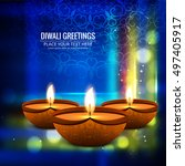 abstarct happy diwali background | Shutterstock .eps vector #497405917