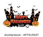 happy halloween poster  night... | Shutterstock .eps vector #497415037
