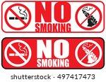 no vaping no smoking placard...   Shutterstock . vector #497417473