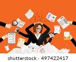 stressed cartoon business woman ... | Shutterstock .eps vector #497422417