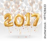 metallic gold letter balloons ... | Shutterstock . vector #497428633