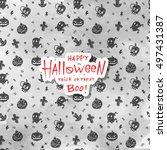 cartoon halloween card. layout... | Shutterstock .eps vector #497431387