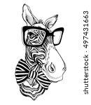 zebra portrait in a striped tie ... | Shutterstock .eps vector #497431663