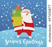 christmas vector card with... | Shutterstock .eps vector #497433877
