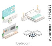 modern bedroom design in... | Shutterstock .eps vector #497443513