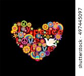 applique with colorful flowers... | Shutterstock .eps vector #497445097