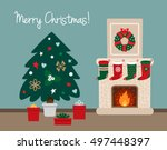 christmas tree with presents... | Shutterstock .eps vector #497448397