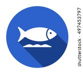 fish    icon   isolated. flat ... | Shutterstock .eps vector #497453797