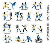 set of sportsmen silhouettes... | Shutterstock .eps vector #497459383
