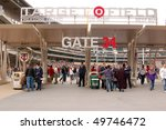 MINNEAPOLIS - MARCH 27: Baseball fans entering Target Field to view the Univ. of Minnesota play Louisiana Tech, in the first baseball game ever played at Target Field on March 27, 2010, in Minneapolis - stock photo
