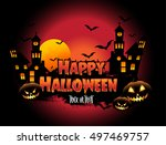 happy halloween poster  night... | Shutterstock .eps vector #497469757