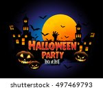 happy halloween poster  night... | Shutterstock .eps vector #497469793