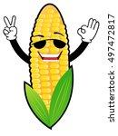 corn humor emoticon show okay | Shutterstock .eps vector #497472817