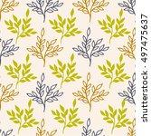 autumn seamless floral pattern. ... | Shutterstock .eps vector #497475637