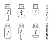 usb flash drive outline icons...