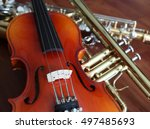 close up of musical instruments ... | Shutterstock . vector #497485693