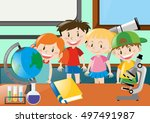 boys and girls learning science ... | Shutterstock .eps vector #497491987