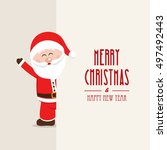 merry christmas tree card | Shutterstock .eps vector #497492443