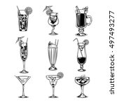 vector set of empty cocktail...