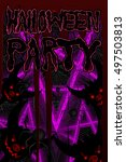 poster for halloween party... | Shutterstock .eps vector #497503813