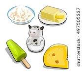 a set of items and food on the... | Shutterstock .eps vector #497505337