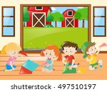 kids folding papers in the... | Shutterstock .eps vector #497510197