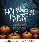 halloween party design with... | Shutterstock .eps vector #497516893