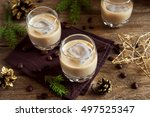 irish cream coffee liqueur with ... | Shutterstock . vector #497525347
