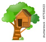 tree with treehouse on it... | Shutterstock .eps vector #497530423