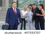 team leader stands with four...   Shutterstock . vector #497555707