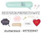 hand drawn narrow font. tall... | Shutterstock .eps vector #497555947