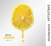vector realistic sliced lemon... | Shutterstock .eps vector #497557843