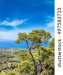 Small photo of Panoramic landscape of Aegina island in a summer day in Greece