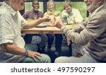 group of senior retirement meet ... | Shutterstock . vector #497590297