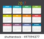 colorful 2017 calendar vector... | Shutterstock .eps vector #497594377
