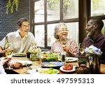 senior group relax lifestyle... | Shutterstock . vector #497595313