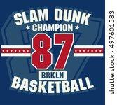basketball t shirt graphic... | Shutterstock .eps vector #497601583