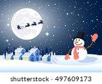 christmas landscape | Shutterstock .eps vector #497609173