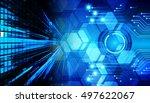 future technology  blue light... | Shutterstock . vector #497622067