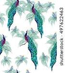 colored birds pattern  bright... | Shutterstock .eps vector #497622463