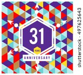 31th years greeting card... | Shutterstock .eps vector #497625643
