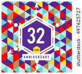 32th years greeting card... | Shutterstock .eps vector #497625727