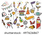 set of new year doodle | Shutterstock .eps vector #497626867