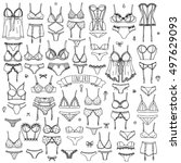 hand drawn doodle lingerie icon ... | Shutterstock .eps vector #497629093