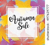 autumn sale. fall leaves... | Shutterstock .eps vector #497629777