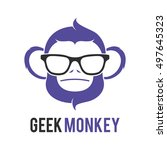 monkey geek logo icon symbol... | Shutterstock .eps vector #497645323