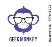 monkey geek logo icon symbol... | Shutterstock .eps vector #497645323