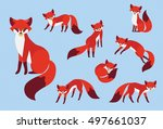 set of cute cartoon red fox in... | Shutterstock .eps vector #497661037